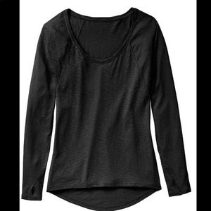 ATHLETA- Black Shiva Yoga Long Sleeve Shirt